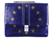 Europe Union flag painted on small briefcaseor leather handbag — Stock Photo