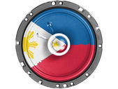 Philippine flag painted on sound speaker — Stock Photo