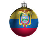 Ecuador flag on a Christmas, x-mas toy — Stok fotoğraf
