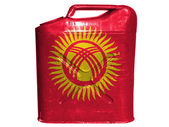 Kyrgyzstan flag painted on gasoline can or gas canister — Stock Photo