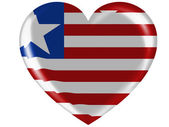 Liberia. Liberian flag painted on glossy heart icon — Stock Photo