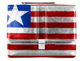 Liberia. Liberian flag painted on small briefcaseor leather handbag — Stock Photo