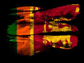 Sri Lanka flag painted on black textured paper with watercolor — Stock Photo