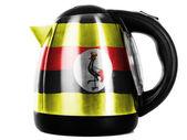 Uganda flag painted on shiny metallic kettle — Stock Photo