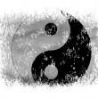 The Ying Yang sign painted on on white background - Stock Photo