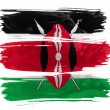 Royalty-Free Stock Photo: Kenya flag painted with three strokes of paint in white