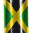 Jamaica flag  painted on shiny tin can — Stock Photo