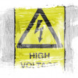 High voltage sign painted with watercolor on paper — Stock Photo