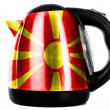 Macedonia flag painted on shiny metallic kettle — Stock Photo #23421442