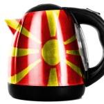 Macedonia flag painted on shiny metallic kettle — Stock Photo