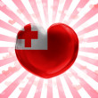 Tonga flag painted on glass heart on stripped background — Stock Photo #23421564