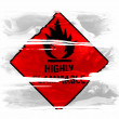 Highly flammable sign drawn on  painted with three strokes of paint in white - Stock Photo