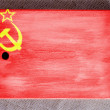 The USSR flag painted on  painted over wooden board — Stock Photo