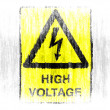 Stock Photo: High voltage sign drawn on white background with colored crayons