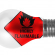 Stock Photo: Highly flammable sign drawn on painted on lightbulb