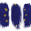 Europe Union flag painted on painted with 3 vertical brush strokes on white background — Stock Photo