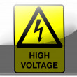 Stock Photo: High voltage sign painted on square interface icon