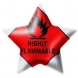 Stok fotoğraf: Highly flammable sign drawn on . Glossy star