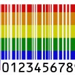 Gay pride flag painted on barcode surface — Stock Photo #23423390
