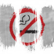 Stock Photo: No smoking sign drawn at painted with 3 vertical brush strokes on white background