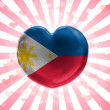 Philippine flag  painted on glass heart on stripped background — Stock Photo