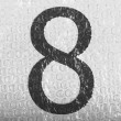 8 Eight number painted on bubblewrap - Stock Photo