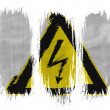 Electric shock sign painted on painted with 3 vertical  brush strokes on white background — Foto Stock