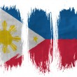 Philippine flag painted with 3 vertical brush strokes on white background — Stock Photo #23423856