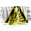 Explosive sign drawn on painted with watercolor on wet white paper - Stock Photo