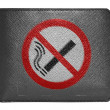 Stock Photo: No smoking sign drawn painted on leather wallet painted on leather wallet