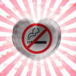 Stock Photo: No smoking sign painted on glass heart on stripped background