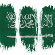 Saudi Arabia flag painted with 3 vertical brush strokes on white background — Stock Photo #23425092