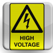 High voltage sign painted on glossy icon — Stock Photo #23425528