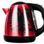 Albania. Albanian flag painted on shiny metallic kettle — Stock Photo
