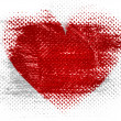 Red Heart symbol painted on on dotted surface — Stock Photo