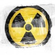 Nuclear radiation symbol painted with watercolor on paper — Stock Photo #23426250