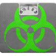 Biohazard sign painted on painted on balance - Stock Photo