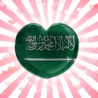 Saudi Arabia flag painted on glass heart on stripped background — Stock Photo #23428278
