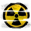 Nuclear radiation symbol painted on painted with three strokes of paint in white — Stock Photo