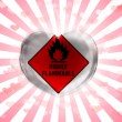 Highly flammable sign drawn on  painted on glass heart on stripped background - Stock Photo