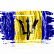Barbados. Barbadian flag painted with watercolor on wet white paper - Stock Photo