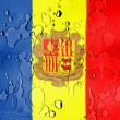 Andorra flag covered with water drops - Foto Stock