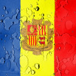 Andorra flag covered with water drops - Stock Photo
