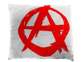 Anarchy symbol painted on pillow — Foto de Stock