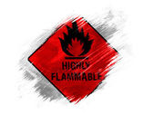 Highly flammable sign drawn on painted with brush on white background — Stok fotoğraf
