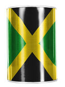 Jamaica flag painted on shiny tin can — Stok fotoğraf