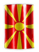 Macedonia flag painted on shiny tin can — Stockfoto