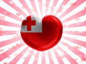 Tonga flag painted on glass heart on stripped background — Stock Photo
