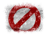 Forbidden sign painted on on white background — Stock Photo