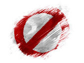 Forbidden sign painted on painted with brush on white background — Stock Photo